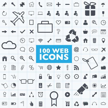100 gri web, internet, ofis, bilgisayar, ızgara ile seyahat simge vektörleri Set
