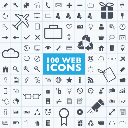 Set of 100 grey web, internet, office, computer, travel icon vectors with grid Illustration