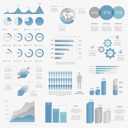 Modern iş infografik vektör elemanlarının büyük koleksiyonu Illustration