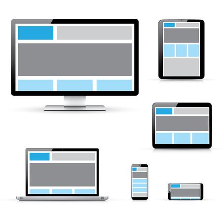 ui design: Modern responsive computer, laptop, tablet and smartphone vectors Illustration
