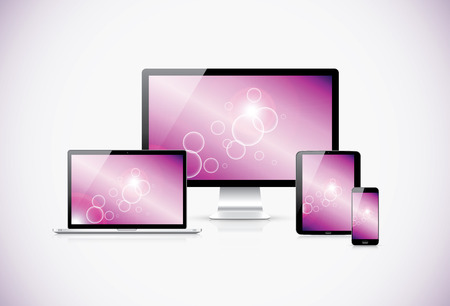 Realistic modern responsive electronic devices with abstract background Illustration