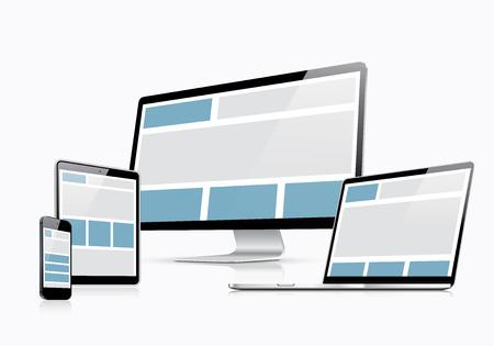 Dizüstü bilgisayar, tablet, akıllı telefon ve bilgisayar ile duyarlı web tasarım vektör şablonu Illustration