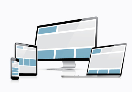 css: Responsive web design vector template with laptop, tablet, smartphone and computer