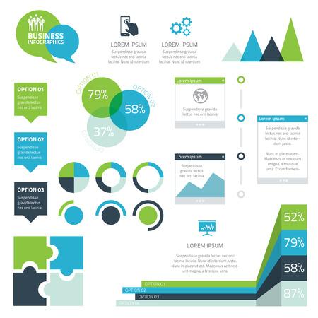Iş infografik vektör elemanları modern set Illustration