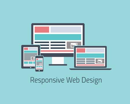 응답 웹 디자인 개발 벡터 평면 스타일