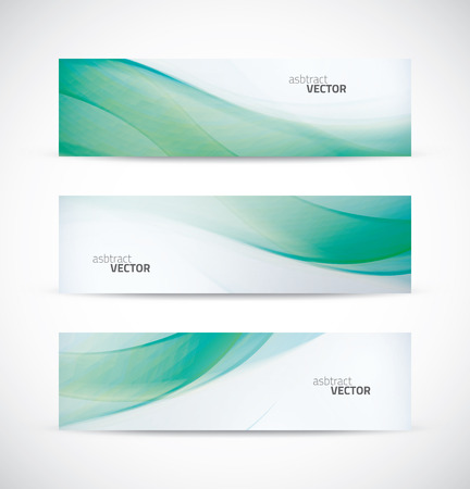 Three abstract green ecology wave banner header backgrounds vector Illustration