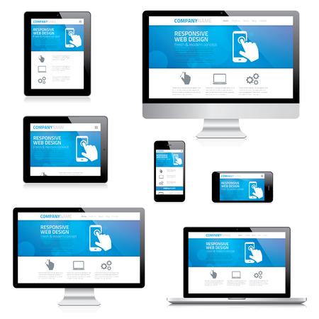 現代レスポンシブ web デザインのコンピューター、ラップトップ、タブレット、スマート フォンのベクトル