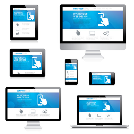 flexible business: Modern responsive web design computer, laptop, tablet and smartphone vectors Illustration