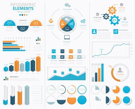 データを表示する大きなインフォ グラフィックのベクター要素のコレクション  イラスト・ベクター素材