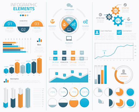 Big infographic vector elements collection to display data Illusztráció
