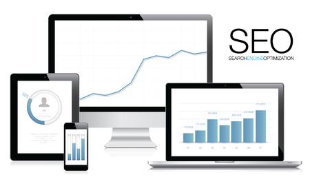 検索エンジン最適化 SEO の概念ベクトル  イラスト・ベクター素材