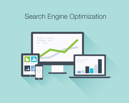 Search Engine Optimization flat icon illustration vector concept shows SEO data analysis in tablet, laptop, smartphone and computer icons Vector