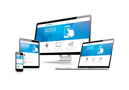 Website coding development with responsive web design concept Ilustrace