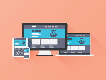 Responsive Web Design vector concept with flat style and long shadow   Illustration