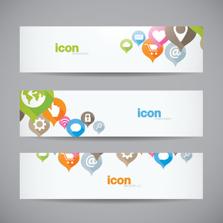 header label: Creative abstract background web icon banner header vector