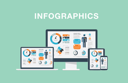 Infographics in modern flat vector illustration electronic devices laptop, tablet, computer and smartphone Illustration