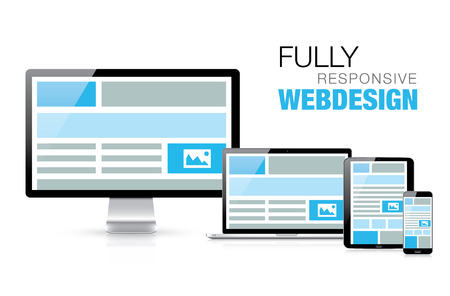 Fully responsive web design in modern realistic electronic devices Stock Vector - 26410046