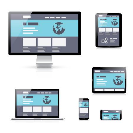 plantilla de sitio web: Desarrollo web de vectores iconos ilustraci�n de dispositivos de respuesta plana Vectores