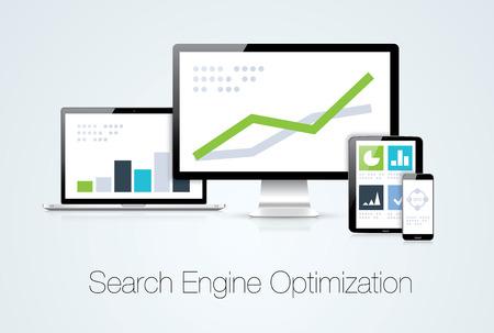 Search engine optimization marketing analysis vector illustration Illustration