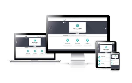 Flat responsieve web design ontwikkeling vector begrip in realistische apparaten