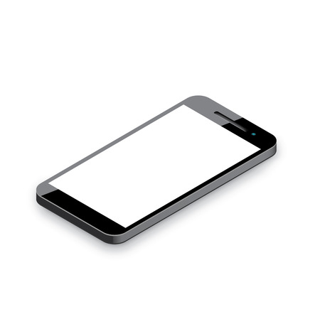 Mobile phone isolated on white  Realistic 3d smartphone vector illustration