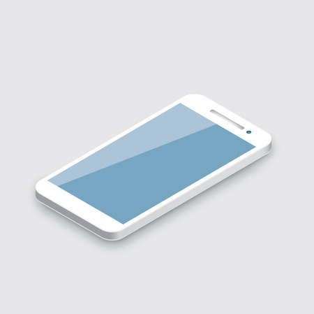 Mobile phone isolated on white  Realistic white 3d smartphone vector  Ilustração