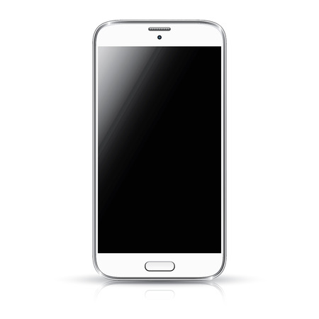 touch screen phone: White smartphone realistic vector illustration isolation  Modern style mobile phone