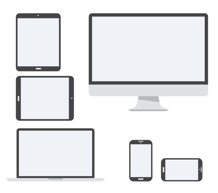 Electronic device vector icon set isolated on white Illusztráció
