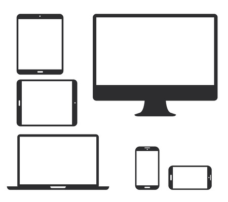 Set of black electronic device silhouette icons  Vector illustration of smart phone, tablet, laptop and computer