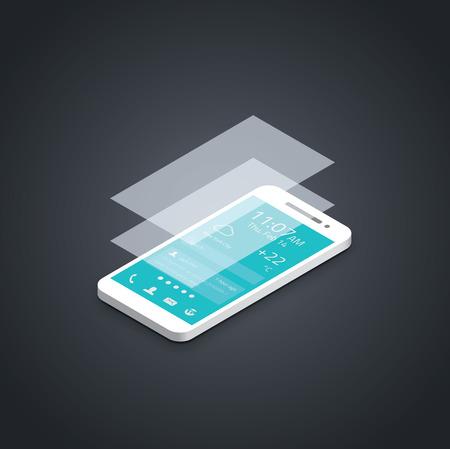 Mobile phone flat user interface development vector illustration  Illustration