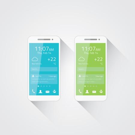 携帯電話開発ベクトル イラスト フラット ユーザー インターフェイス デザイン