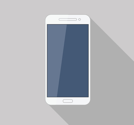 Flat white mobile phone modern stylish long shadow  Vector