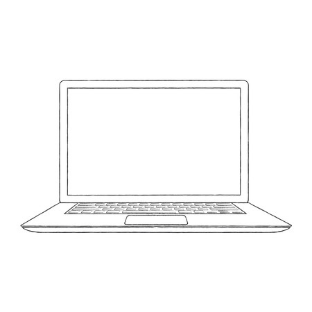 Hand-drawn outlined laptop vector illustration Vector