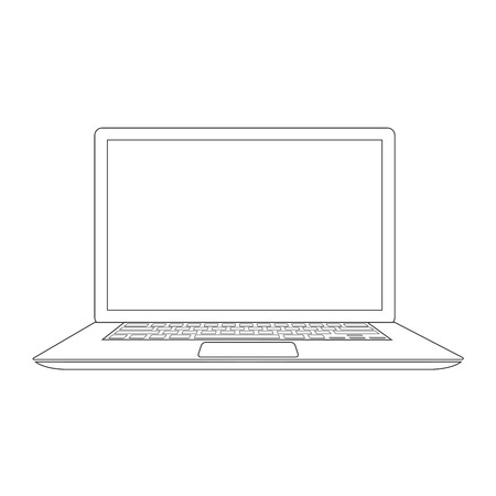 line up: Outlined laptop vector illustration Illustration