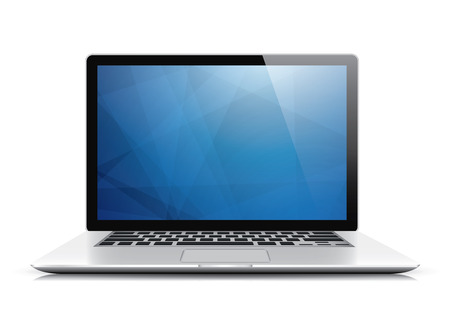 Laptop vector with blue abstract wallpaper isolated on white background Vector
