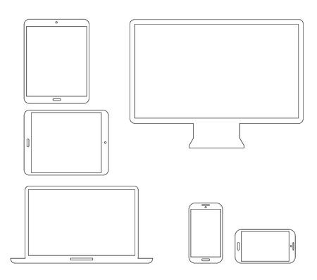 Anahat elektronik cihazlar Laptop, tablet, akıllı telefon ve bilgisayar vektör çizimler ayarlayın