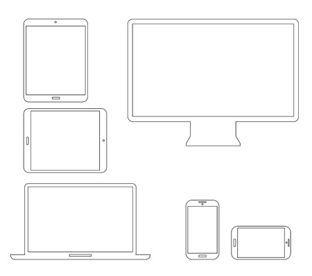Set of outline electronic devices  Laptop, tablet, smartphone and computer vector illustrations