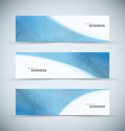 Three abstract blue business header banners vector Illustration