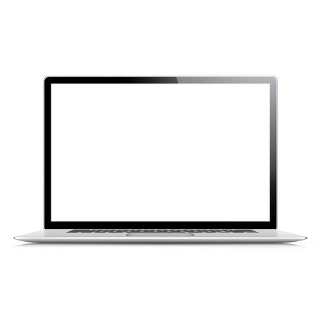 白で隔離される現実的な非常に詳細なベクトルのラップトップ  イラスト・ベクター素材