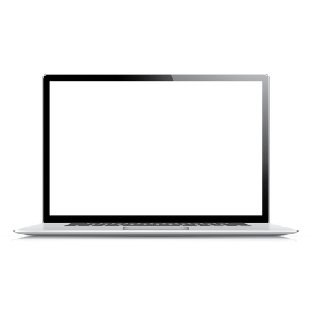 Realistic and very detailed vector laptop isolated on white Illustration