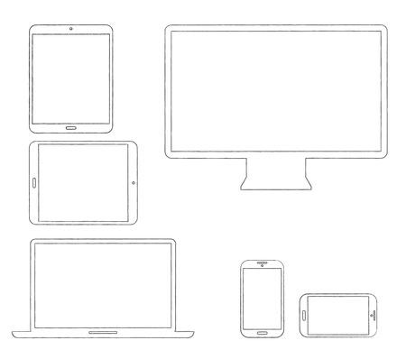 手描きの輪郭を描かれた近代的な電子機器ベクトル イラスト
