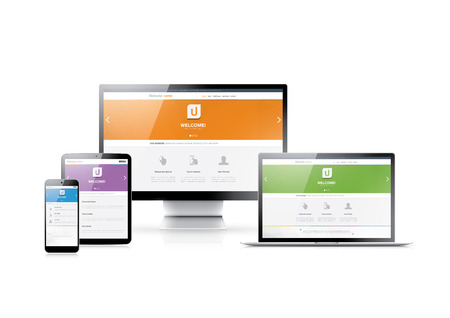 4 つの色でモダンな非常に詳細な電子デバイス フラット ウェブサイト スタイル レスポンシブ web デザイン  イラスト・ベクター素材