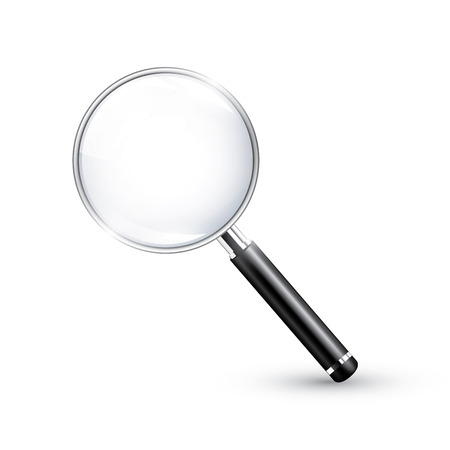 inspect: Magnifying glass realistic detailed vector icon Illustration