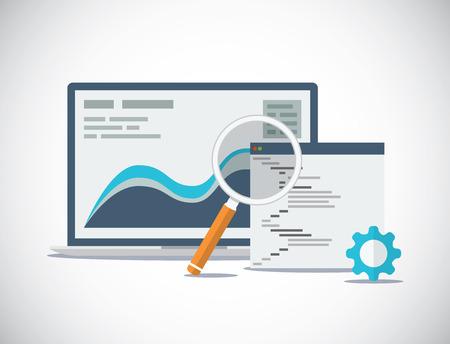 Análisis del sitio web SEO y proceso de concepto de vector plano