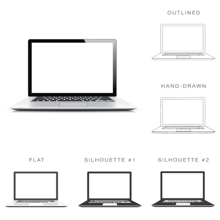 デザイナーは現代のラップトップ ベクトルの六つの異なるイラスト スタイルの設定します。  イラスト・ベクター素材