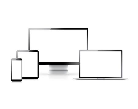 現実的なベクトルのラップトップ、タブレット、スマート フォン、空の白い画面とコンピューターの設定
