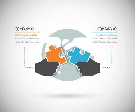 パズルのピースが協力インフォ グラフィック ベクトル概念の 2 つの企業とを結ぶ  イラスト・ベクター素材
