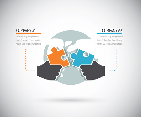 Puzzle pieces connecting with two businesses for cooperation  Infographic vector concept  Illusztráció