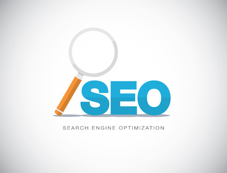 search engine optimization: Flat concept of Search Engine Optimization with magnifying glass vector