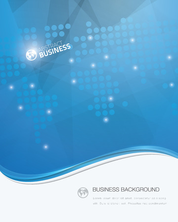 text area: Blue vector wave business brochure template with white text area